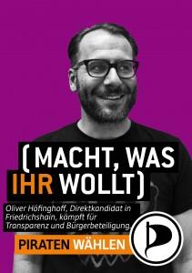 Das Kandidatenwahlplakat für Friedrichshain Wahlkreis 4 der Piraten