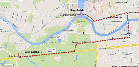 Route der TTIP Demo in einer KArte eingemalt: Vom Hauptbahnhof via Straße des 17. Juni zum Brandenburger Tor
